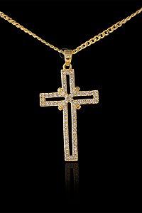 Pingente  Cruz Cravejada com Zircônia Importada - 2 X 3,2cm - Banhado a ouro 18k