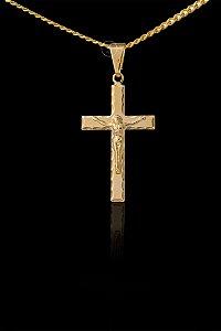 Pingente Cruz Chata Cristo - 2,1 X 2,8cm - Banhado a ouro 18k
