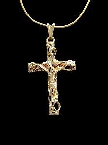 Pingente  Cristo Cruz - 3 X 4,5cm - Banhado a ouro 18k