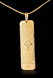 Pingente  Baguete Pai Nosso - 1,5 X 4,7cm - Banhado a ouro 18k