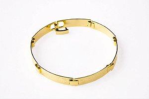Bracelete Placa Grego - 7 MM  - 20cm  - 8,3g Banhado a ouro 18k