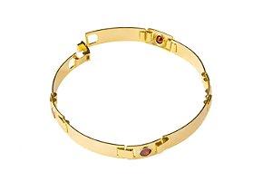 Bracelete Placa Lisa Com Zircônia - 7 MM  - 20cm  - 8,8g Banhado a ouro 18k