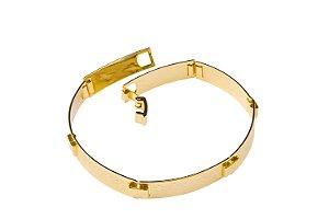 Bracelete Placa Cruz - 7 MM  - 20cm  - 8g Banhado a ouro 18k