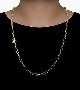 Corrente Cadeado Cartie Elo  - Fecho gaveta com trava dupla  (4,5MM) - 70cm - 18g - Banhado a ouro 18k