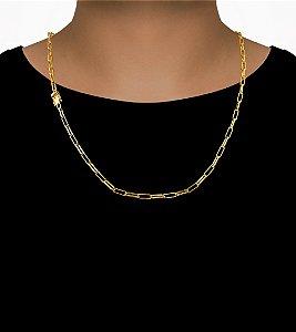 Corrente Cadeado Cartie Elo - Fecho gaveta com trava dupla  (3,5MM) - 60cm - 12g - Banhado a ouro 18k
