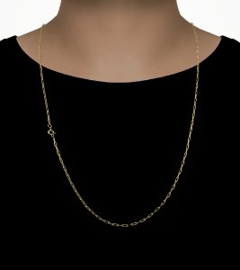 Corrente Cadeado Cartie - Fecho Bóia (2MM) -70cm - 4g - Banhado a ouro 18k
