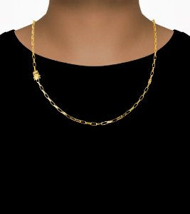 Corrente Cadeado Cartie Elo - Fecho gaveta com trava dupla  (3MM) - 60cm - 11g - Banhado a ouro 18k