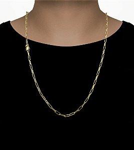 Corrente Cadeado Cartie Elo  - Fecho gaveta com trava dupla  (3,5MM) - 70cm - 14g - Banhado a ouro 18k