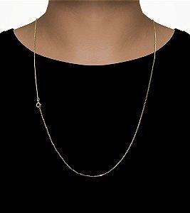 Corrente Veneziana 1.0 - Fecho Bóia (1MM) -70cm - 4g - Banhado a ouro 18k