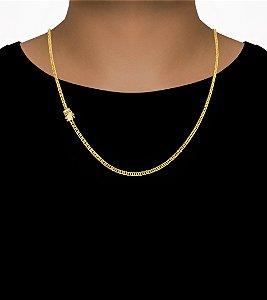 Corrente Grumet Duplix - Fecho gaveta com trava dupla  (2,5MM) - 60cm - 10g - Banhado a ouro 18k