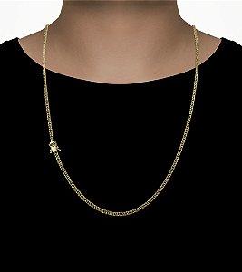 Corrente Grumet Duplix  - Fecho gaveta com trava dupla  (2,5MM) - 70cm - 12g - Banhado a ouro 18k
