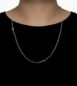 Corrente Cartie Fecho Mosquetão (2MM) -70cm - 4,9g - Banhado a ouro 18k