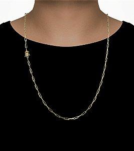 Corrente Cadeado Cartie Longo - Fecho gaveta com trava dupla  (3,5MM) - 70cm - 11g - Banhado a ouro 18k