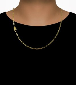 Corrente Cadeado Cartie Longo - Fecho gaveta com trava dupla  (3,5MM) - 60cm - 10g - Banhado a ouro 18k