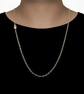 Corrente Cadeado Cartie Elo Curto - Fecho gaveta com trava dupla  (4MM) - 70cm - 11g - Banhado a ouro 18k