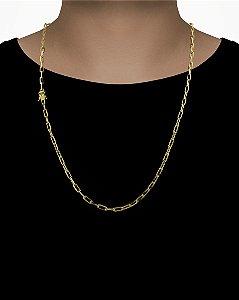 Corrente Cadeado Cartie Longo - Fecho gaveta com trava dupla  (4MM) - 70cm - 18g - Banhado a ouro 18k