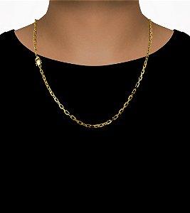 Corrente Cadeado Cartie Curto - Fecho gaveta com trava dupla  (4MM) - 60cm - 17g - Banhado a ouro 18k