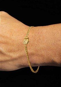 Pulseira Grumet Duplix - Fecho gaveta com trava dupla  (2,5 MM ) 21cm - 4,2g - Banhado a ouro 18k