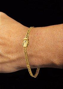 Pulseira Grumet Dupla - Fecho gaveta com trava dupla  (4 MM ) 21cm - 6,6g - Banhado a ouro 18k