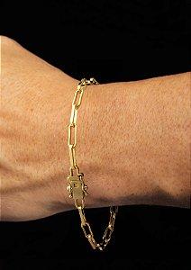 Pulseira Cadeado Cartie Elo Médio - Fecho gaveta com trava dupla  (3,5 MM ) 21cm - 5,1g - Banhado a ouro 18k