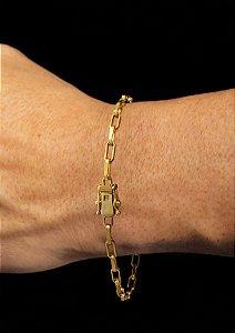 Pulseira Cadeado Cartie Elo Longo - Fecho gaveta com trava dupla  (3 MM ) 21cm - 4,2g - Banhado a ouro 18k