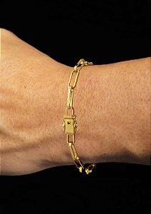 Pulseira Cadeado Cartie Elo Longo - Fecho gaveta com trava dupla  (4.5 MM ) 21cm - 6,4g - Banhado a ouro 18k