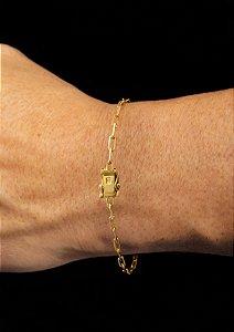 Pulseira Cadeado Cartie Elo Longo - Fecho gaveta com trava dupla  (3 MM ) 21cm - 3g - Banhado a ouro 18k