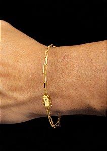 Pulseira Cadeado Cartie Elo Longo - Fecho gaveta com trava dupla  (3,5 MM ) 21cm - 4,3g - Banhado a ouro 18k