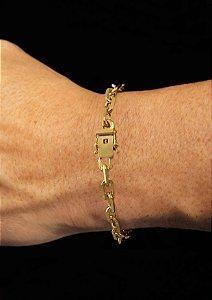 Pulseira Cadeado Cartie Elo Curto - Fecho gaveta com trava dupla  (7 MM ) 21cm - 14,55g - Banhado a ouro 18k
