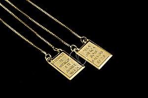 Escapulário Veneziana Nossa Senhora e Jesus  - 70cm - Medalha 1,5 X 1,0cm - 4,8g - Banhado a ouro 18k
