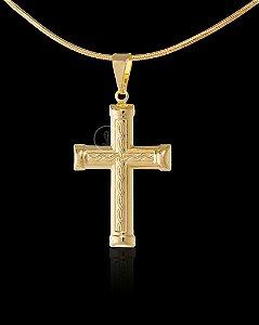 Pingente  Cruz Dupla Trançada - 2,2 X 3cm - Banhado a ouro 18k