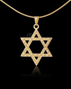 Pingente Estrela De Davi Estampada - 3,5 X 3,5cm - Banhado a ouro 18k