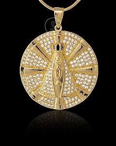 Pingente  Nossa Senhora Cravejada Com Zircônia - 3,5 X 3,5cm - Banhado a ouro 18k