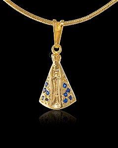 Pingente  Nossa Senhora Cravejada - 1 X 1,7cm - Banhado a ouro 18k