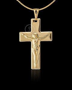 Pingente Cruz Fosca com Cristo - 3,3 X 5cm - Banhado a ouro 18k