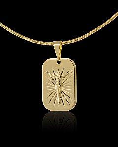 Pingente Placa Cristo Diamantada - 1,3 X 2cm - Banhado a ouro 18k