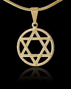 Pingente Estrela De Davi Estampada - 1,7 X 1,7cm - Banhado a ouro 18k