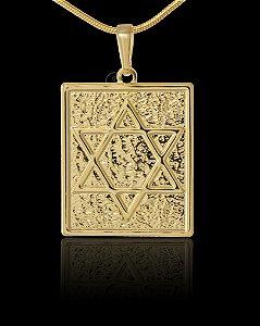 Pingente Estrela De Davi Estampada - 2,2 X 3cm - Banhado a ouro 18k