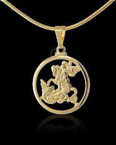 Pingente  São Jorge Redondo Cravejado - 2 X 2cm - Banhado a ouro 18k