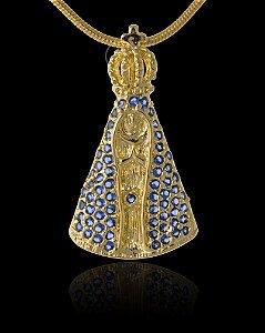 Pingente  Nossa Senhora Zircônia - 1,6 X 2,8cm - Banhado a ouro 18k