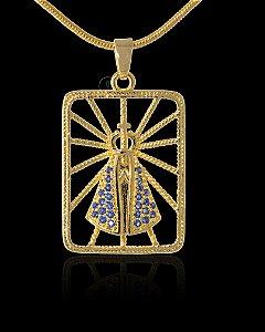 Pingente Nossa Senhora Vazada Com Zircônia - 2,3 X 1,8cm - Banhado a ouro 18k