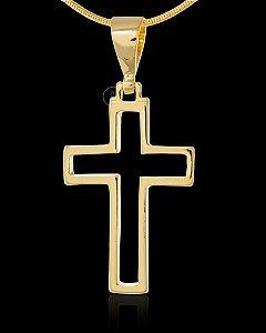 Pingente  Cruz Vazada Quadrada - 2,4 X 3,3cm - Banhado a ouro 18k