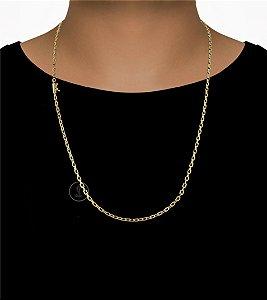 Corrente Cadeado Cartie Elo Curto - Fecho Canhão (4MM) - 70cm - 11g - Banhado a ouro 18k