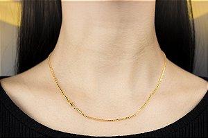 Corrente Veneziana Grossa - Fecho Mosquetão (MM) - 45cm - 4.9g - Banhado a ouro 18k