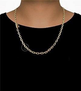 Corrente Cadeado Cartie Curto - Fecho Canhão (5,5MM) - 60cm - 33g - Banhado a ouro 18k