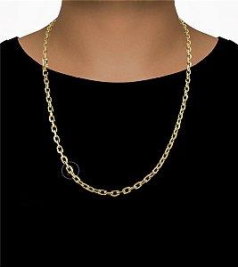 Corrente Cadeado Cartie Curto - Fecho Canhão (5,5MM) - 70cm - 38g - Banhado a ouro 18k