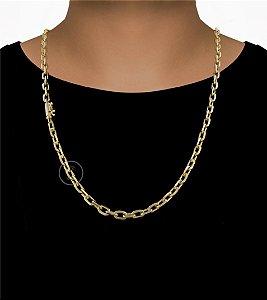 Corrente Cadeado Cartie Curto - Fecho Canhão (7MM) - 70cm - 48g - Banhado a ouro 18k