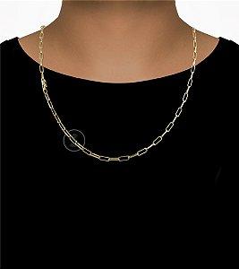 Corrente Cadeado Cartie Elo - Fecho Canhão (3,5MM) - 60cm - 13g - Banhado a ouro 18k