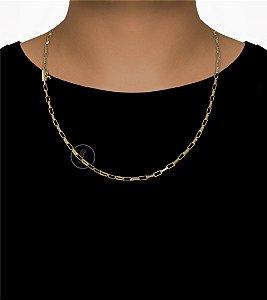 Corrente Cadeado Cartie Elo - Fecho Canhão (3MM) - 60cm - 10g - Banhado a ouro 18k