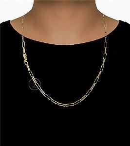 Corrente Cadeado Cartie Elo - Fecho Canhão (4,5MM) - 70cm - 20g - Banhado a ouro 18k